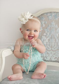 Baby girl+ mommy's pearls??? Get your camera ready