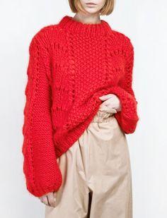 Ganni The Julliard Mohair Pullover Fiery Red