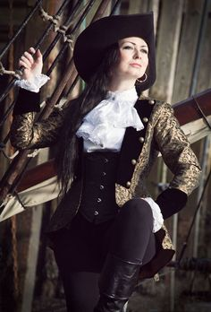 Yep, want this jacket, in black or black and silver brocade.    473 - Pirate Jacket - Gothic, romantic, steampunk clothing from The Dark Angel