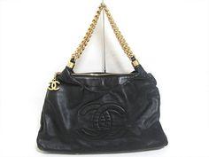 e2f1cb99d4fd Authentic CHANEL Coco Mark Chain Shoulder Tote Bag Leather Black Gold