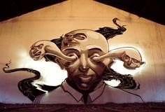 "FAT HEAT _ ""Double Vision"" _ Spraypaint and Lightpraint _ Mural _ Praha"