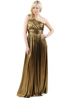 dress pleated lame gown gold - Google Search