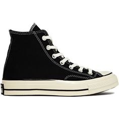 03a32cc28e1 Converse Chuck Taylor All Star Hi Sneakers In Black Lace up premium canvas  sneaker. Exact reproduction of original version.