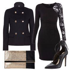 Questo vestito con manica in pizzo è allo stesso tempo raffinato e sensuale. L'ho abbinato a delle décolleté nere con lacci, cappottino corto e pochette bicolore.