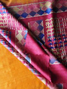 Geometric Block Print Tussar Silk Kurta Fabric With Dupatta