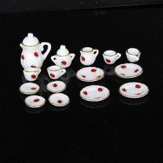 15Pcs 1/12 Doll House Miniature Dining Ware Porcelain Tea Set Dish Cup Plate Ladybug Print Free Shipping
