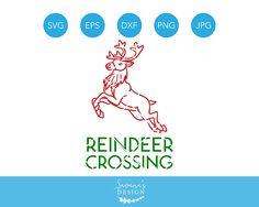 Reindeer Crossing SVG, Deer Crossing, Christmas SVG, Reindeer SVG, Deer Svg, Xmas Svg, Holiday Svg, Cricut Svg, Silhouette Svg, Svg Files