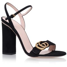 Gucci Marmont Sandals 105 (4,095 GTQ) ❤ liked on Polyvore featuring shoes, sandals, gucci loafers, chunky-heel sandals, loafer shoes, strap sandals and loafer flats