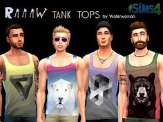 RAAAW Tank Tops for males by Waterwomen at Akisima via Sims 4 Updates