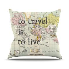 """Catherine Holcombe """"To Travel Is To Live"""" Color Map Throw Pillow from Kess InHouse. Saved to RIGHT NOW . #cozy #pillow #wanderlust #bedroom #totravelistolivepillow #travelpillow #yass #travel."""