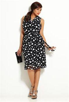 Belted Dot Dress | Plus Size Work Dresses | Avenue