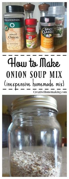 to Make Onion Soup Mix You can make your own homemade onion soup mix for casseroles, soup, or dip with just a couple easy ingredients.You can make your own homemade onion soup mix for casseroles, soup, or dip with just a couple easy ingredients. Homemade Onion Soup Mix, Homemade Dry Mixes, Homemade Spices, Homemade Seasonings, Soup Mixes, Spice Mixes, Spice Blends, Cooking Tips, Cooking Recipes