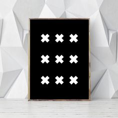 Gift Idea - Typography Art Prints For People Who Love Fonts, Letters & Symbols | Black 'X' geometric print
