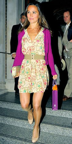 PRETTY PRINTS-ESS  Though she tends to stick to a neutral palette, Pippa occasionally opts for a pop of color – as she did when attending a beach party at London's Goring Hotel in a printed dress and fuchsia cardigan with nude accessories.