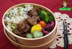 Recipe: Okinawan Sweet Pork Bento in Magewapp(Japanese traditional lunch-box made of wood in Akita, Japan) 曲げわっぱ入り沖縄ラフテー弁当。おいしそう。