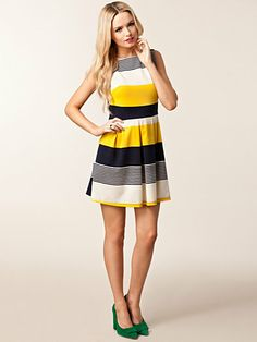 Striped Skater Dress - Ax Paris - Blue/Yellow - Dresses - Clothing - Women - Nelly.com Uk
