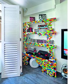 This Lego bookshelf is cool and looks pretty easy to make.