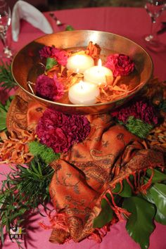 Beautiful water centerpiece with floating flowers and candles. Fuchsias and oranges contrast with the greens Water Centerpieces, Moroccan Theme, Floating Flowers, Event Planning, Contrast, Parties, Wedding Ideas, Events, Candles