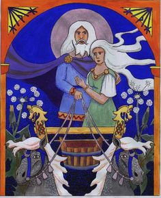 For an explanation of the symbolism, the lady is Bil, a goddess recorded in the Norse Eddas who corresponds to Jill in the English nursery rhyme 'Jack and Jill went up the Hill'. The Scandinavia version of the story says that two children were stolen by the moon while fetching water. The marks on the moon are the children carrying their bucket between them, hence the bucket in the painting. In the Norse myths Moon (Mani) is the son of Mundilfari a name meaning 'the one moving according to…