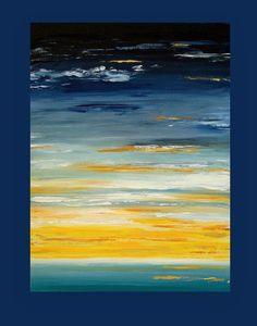 """Kunst, Malerei, abstrakt, Keilrahmen Kunst, seelandschaft, Ocean Kunst, Acryl abstrakte Kunst auf Leinwand von Ora Birenbaum mit dem Titel: leichte Quelle 30x40x1.5 """""""