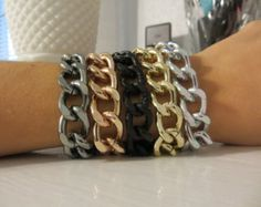 Chunky Gold, Silver, Gunmetal, black or Rose Gold Chain Bracelet / CHOOSE YOUR STYLE - layering thick chunky chain, stack, trendy jewelry