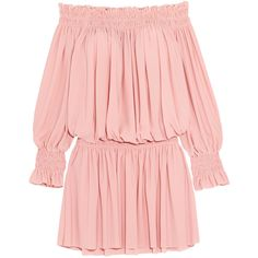 Norma Kamali Off-the-shoulder ruffled smocked stretch-jersey dress (4 420 UAH) ❤ liked on Polyvore featuring dresses, pink, smock dress, bohemian dresses, boho dresses, pink dress and pastel pink dress
