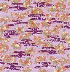 Purple Floral étincelant japonais Yuzen Chiyogami papier Washi