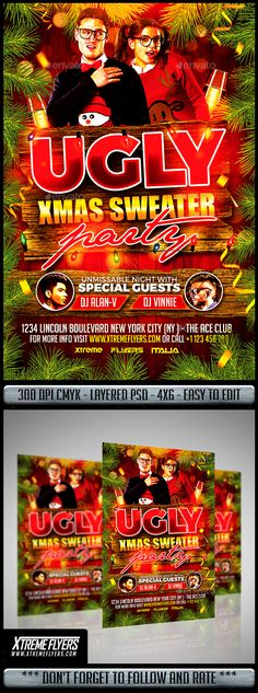 Ugly Christmas Sweater Party Flyer — Photoshop PSD #nightclub #xmas poster • Download ➝ https://graphicriver.net/item/ugly-christmas-sweater-party-flyer/18874595?ref=pxcr