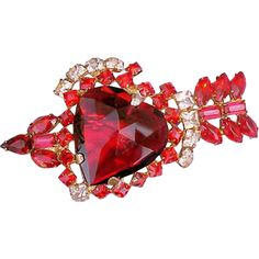 Red Heart with Arrow Rhinestone Brooch 1940s Sterling Vermeil from toinetterl on Ruby Lane