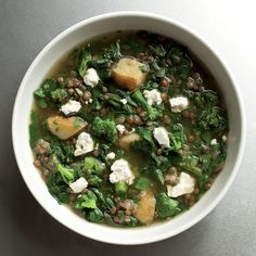 Lentils seem to go well with just about anything, and here they play well with a collection of greens and some cumin and coriander to add a gentle spicy note to this soup recipe