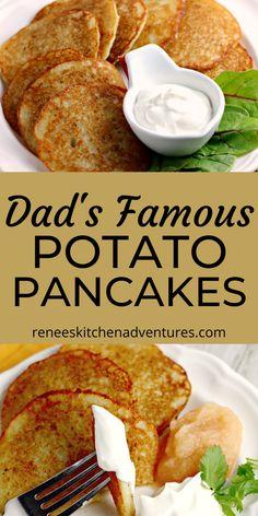 Dad's Famous Potato Pancakes by Renee's Kitchen Adventures. Easy potato pancake recipe made famous by my dad. Potato pancakes make a great side dish or vegetarian main dish. Serve with sour cream and applesauce and enjoy! #RKArecipes #potatorecipe #potatopancakes