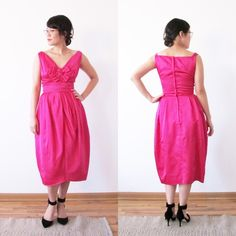 Vintage satin tulip cocktail dress 1950s vintage fuschia satin tulip cocktail dress. In excellent condition. For the complete Betty Draper/Mad Men party look, style with a pearl necklace, kitten heels, and long white gloves! Dresses Midi