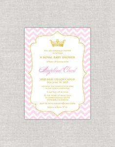 Royal Chevron Baby Shower Invitation in Pink & Gold by paperimpressions on Etsy https://www.etsy.com/listing/128782652/royal-chevron-baby-shower-invitation-in