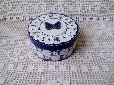 Decoupage box. Casket for jewelry. Box for decorations. Casket for small things. A gift box woman. Blue Box with Butterfly. Imitation lace by 2011milan on Etsy