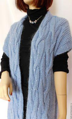 """Купить жилет длинный """"Теплое настроение"""". - голубой, абстрактный, Жилет женский, жилет длинный"""