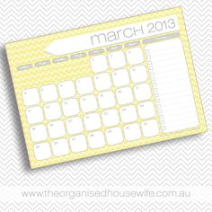 {Free Printable} March 2013 Calendar and to-do list