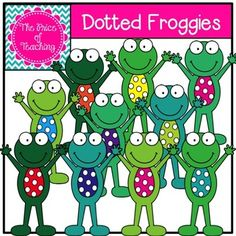 This clipart set includes all of the images shown as well as a black and white version of the dotted froggy. Classroom Displays, Classroom Decor, Frog Activities, Art Worksheets, Organizer, Clipart, Crafts For Kids, Frogs, Creative
