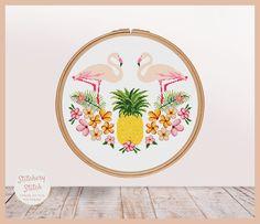 Pineapple cross stitch pattern Flamingo cross stitch Hawaii