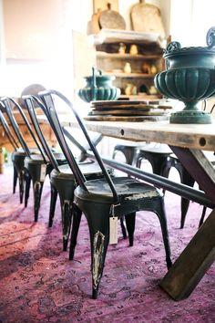 Patinated metal and reclaimed wood in our custom dining creations.   BD Custom at Georgia Brown Home. http://bdantiques.com/