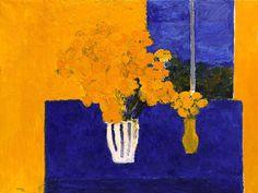 Nature morte aux bouquets de roses d'Inde et à la nappe bleue⋅2003—150×110 cm