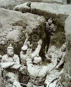 A German trench is captured by British soldiers 1915 during the first world war.