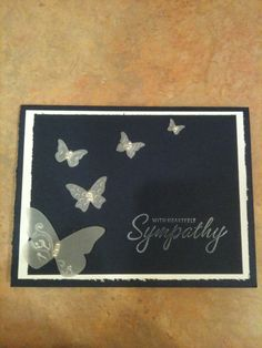 sympathy card - vellum on black with embosslit butterflies