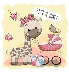 Illustration about Greeting card it s a girl with baby carriage and Giraffe. Illustration of cutie, girl, invitation - 66716917 Cute Images, Cute Pictures, Dibujos Baby Shower, Baby Shawer, Cute Cartoon Girl, Baby Carriage, Baby Cards, Baby Quilts, Cute Art