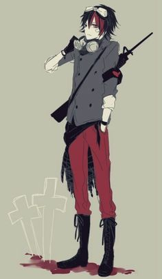 Anime boy, red and black hair, goggles, red eyes, gun, cool; Anime Guys