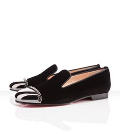 Christian Louboutin - rollergirl velvet, black, loafers moccasins woman flat shoes