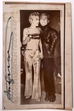 Andy Warhol - vintage photo of Andy & Edie Sedgwick - signed - press photo stamp