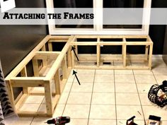 attaching two frames for a corner banquette bench, Pinterior Designer featured on Remodelaholic