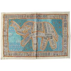"36 x 24"" White Indian Elephant Tapestry, Wall Tapestry, Indian Elephant Art, Indian Tapestry, Wall Hanging, Patchwork Tapestry"