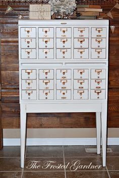 I adore card catalogs - this one painted is lovely