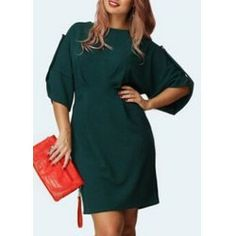 Stylish Solid Color 3/4 Sleeve Back Zippered Mini Dress For Women